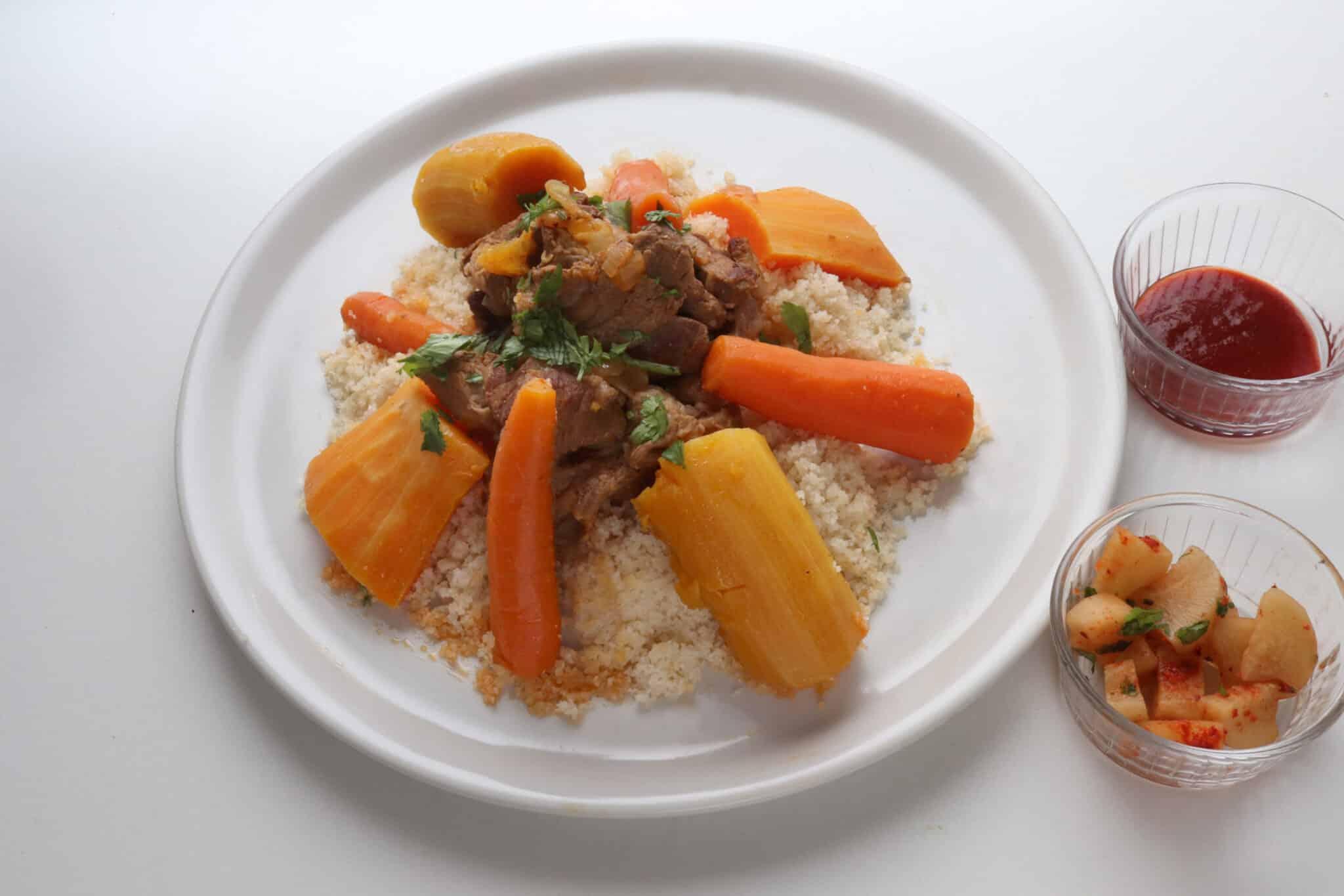 couscous d'hiver sans gluten avec agneau, courge et carottes